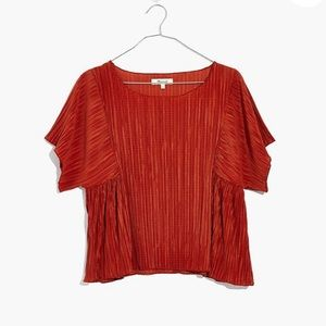 NWT Pleated Short Sleeve Top in Rusty Orange